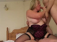 Mature Blonde Fattie Enjoys Ardent MMF Banging Indoors