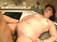 Jelly-belly Redhead Milf Gets Her Crotch Drilled In The Kitchen