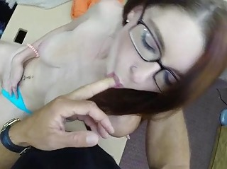 Babe In Glasses Pounded By Pawn Keeper