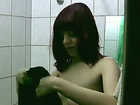 Red Haired Chick With Saggy Pale Titties Wanna Pee In The Shower Room